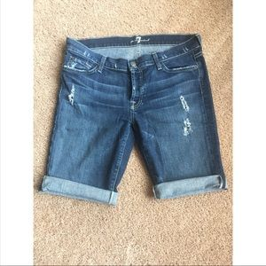 7 for all mankind distressed shorts, size 28